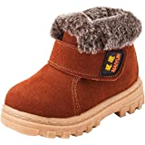 DADAWEN Boy's Girl's Suede Leather Outdoor Waterproof Fur Lined Winter Snow Boots (Toddler/Little Kid/Big Kid)