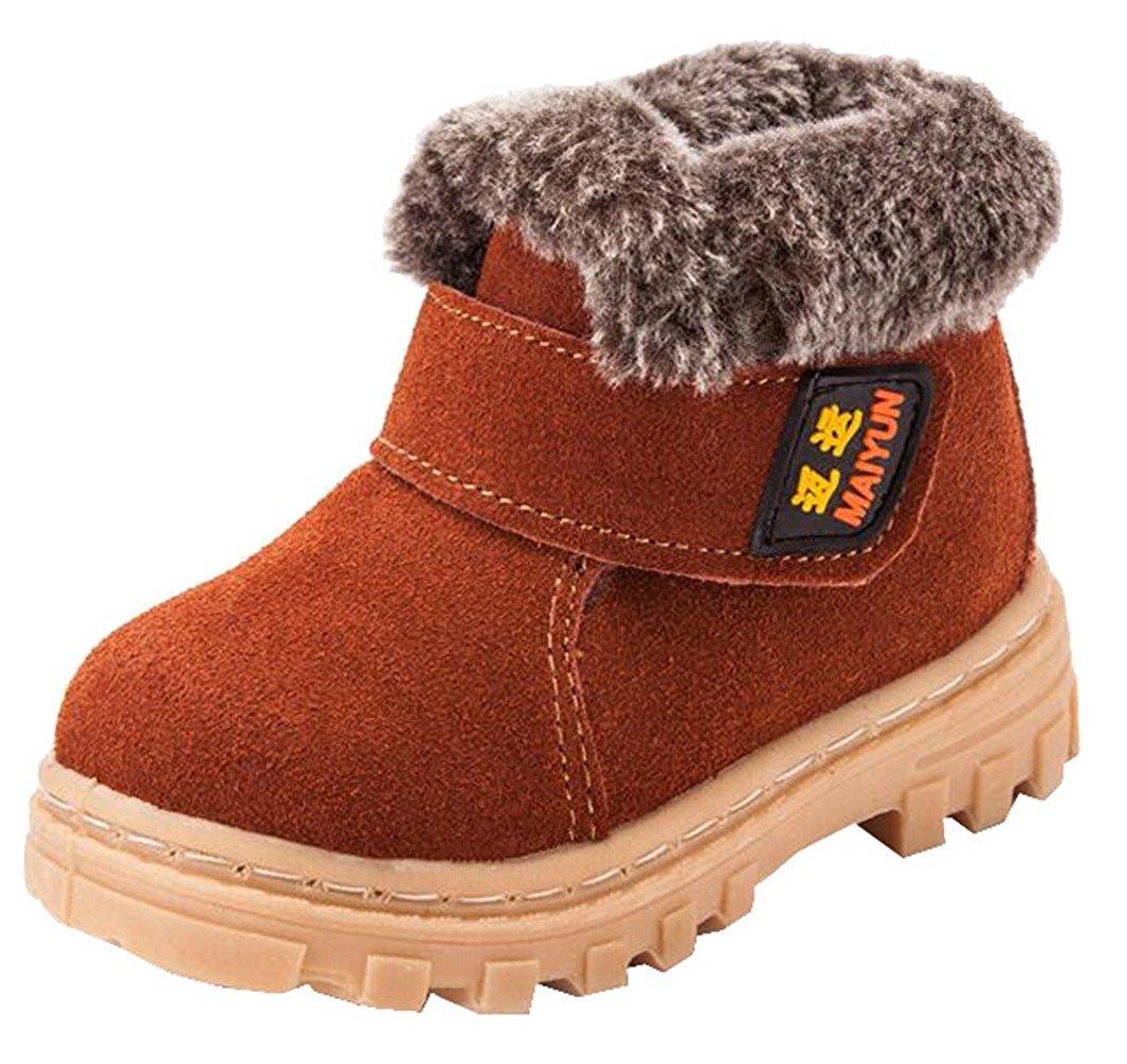DADAWEN Boy's Girl's Suede Leather Outdoor Waterproof Fur Lined Winter Snow Boots (Toddler/Little Kid/Big Kid) Brown US Size 2.5 M Little Kid