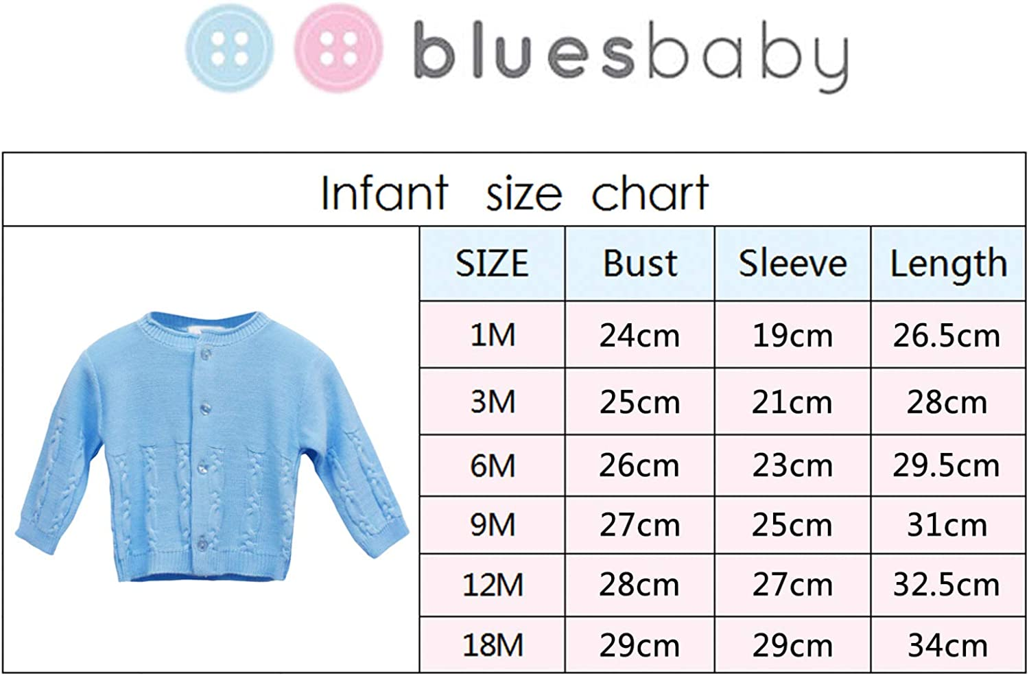 BLUES BABY Girls Boys Cardigan Button up Cable Knit Sweater Cardigan 3-24 Months
