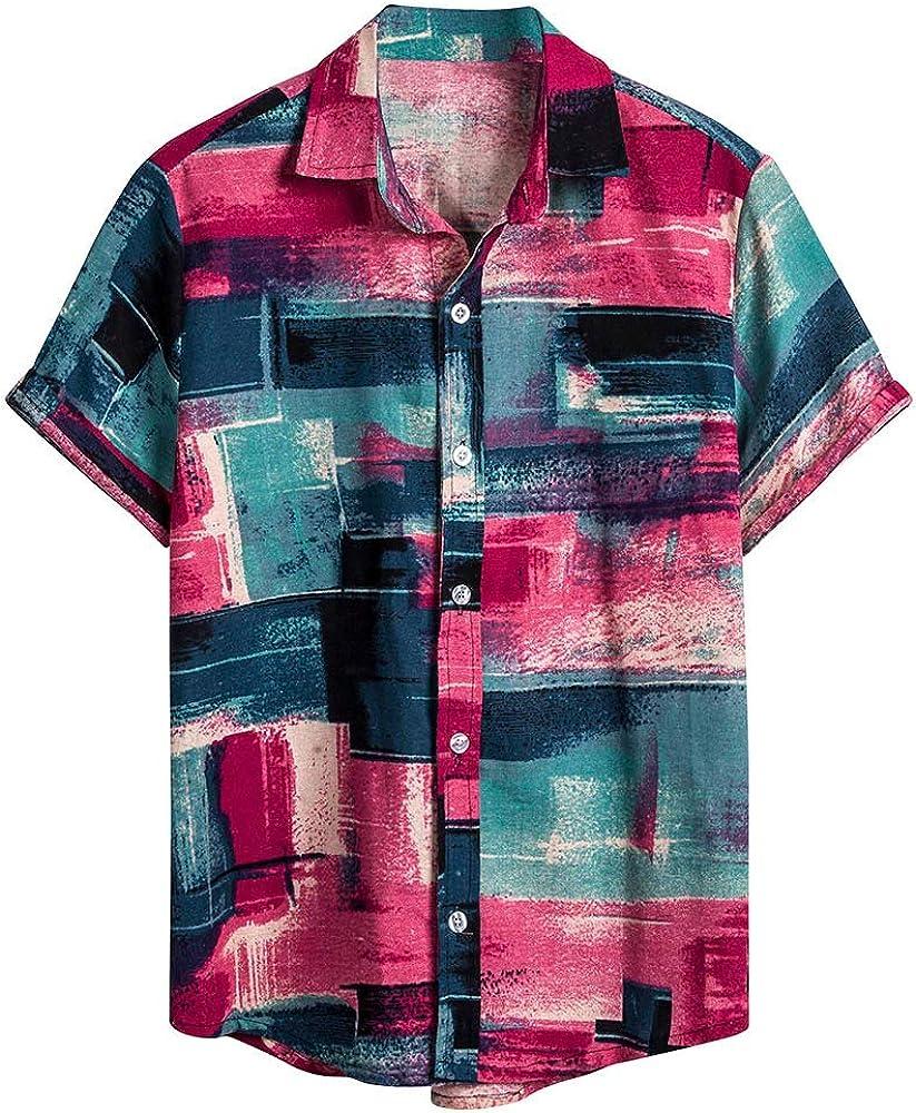 Deelin - Camisa de fantasía para Hombre con Estampado de Manga Corta y Cuello de pie, Estilo Retro Rojo XXX-Large: Amazon.es: Ropa y accesorios