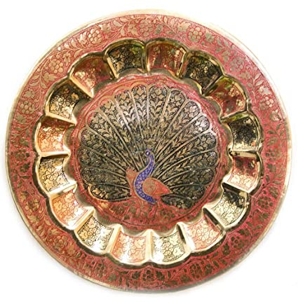 Buy Skywalk Metal Brass Plate Peacock Wall Hanging For Room Decor