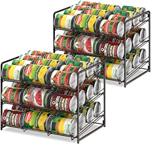 Can Organizer Stackable 2 Pack Can Storage Dispenser Rack 3 Tier Holds up 36 Cans Rotates First in First Out for Kitchen Cabinet or Pantry, Bronze