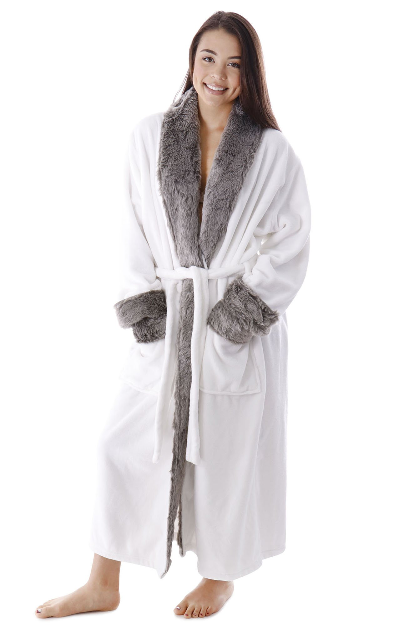 BURKLETT Robes for Women Men Faux Fur Trim Fleece Collar Shawl Pocketed  Bathrobe 3f4db85e3