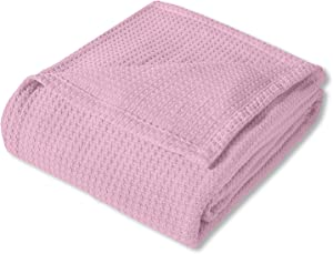Sweet Home Collection 100% Fine Cotton Blanket Luxurious Basket Weave Stylish Design Soft and Comfortable All Season Warmth, King, Pink
