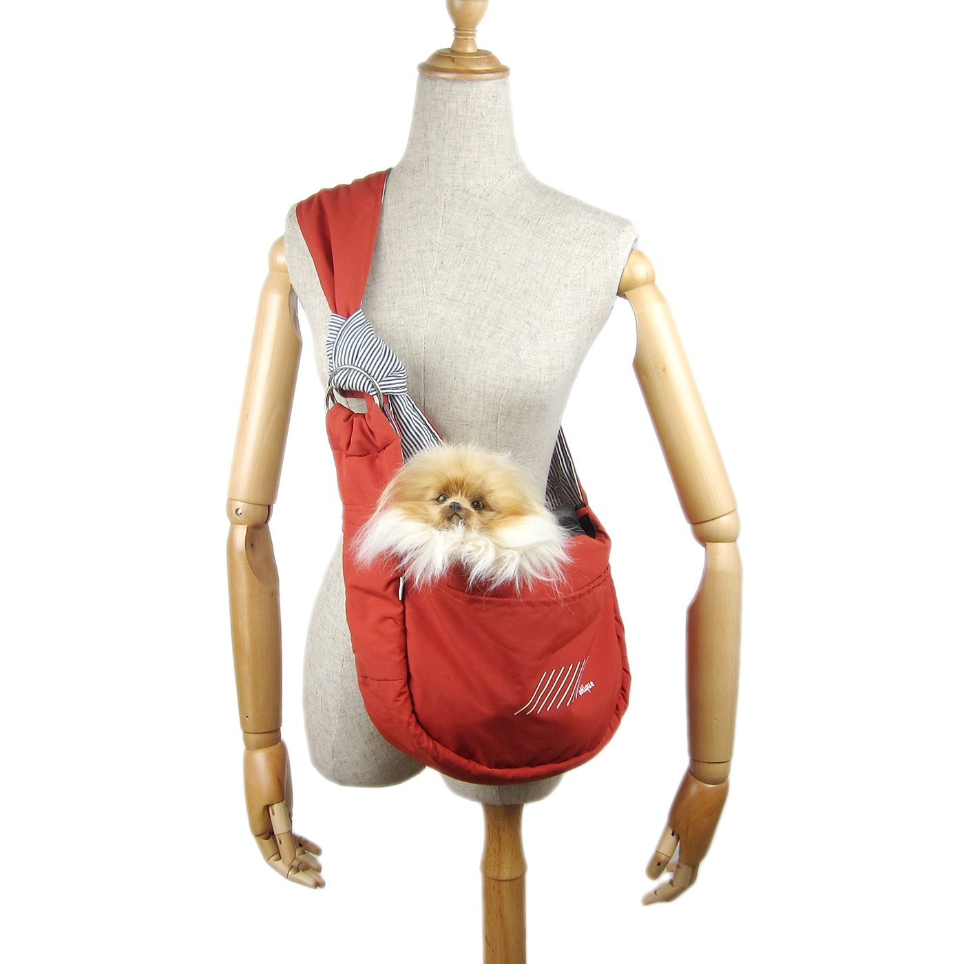 Alfie Pet by Petoga Couture - Carmel Pet Sling Carrier with Adjustable Strap - Color: Red, Size: Small