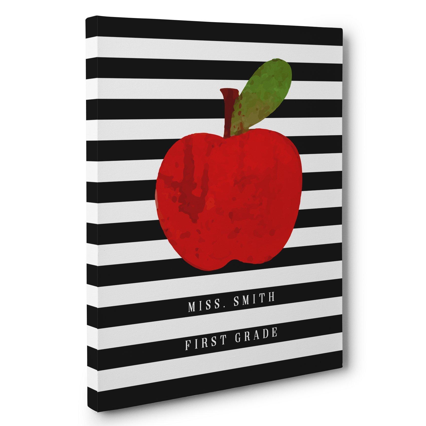 Apple and Stripes Classroom Decor Any Grade Canvas Wall Art