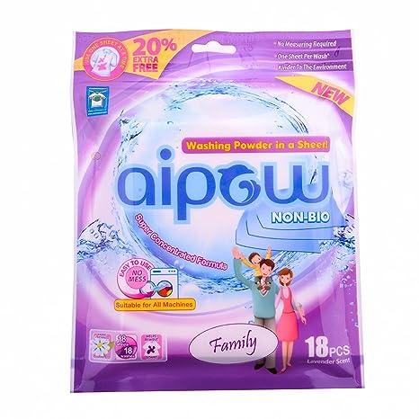 aipow Non-Bio lavandería hoja – Detergente en polvo en una hoja, familia,