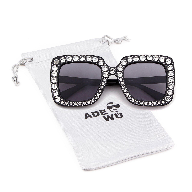 Crystal Rim Women Sunglasses Retro Brand Desginer Square Oversize Sun Glasses