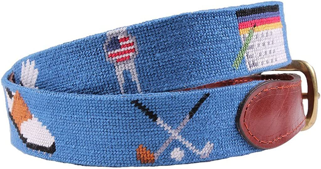 Golfers Life Needlepoint Belt in Blue by Smathers /& Branson