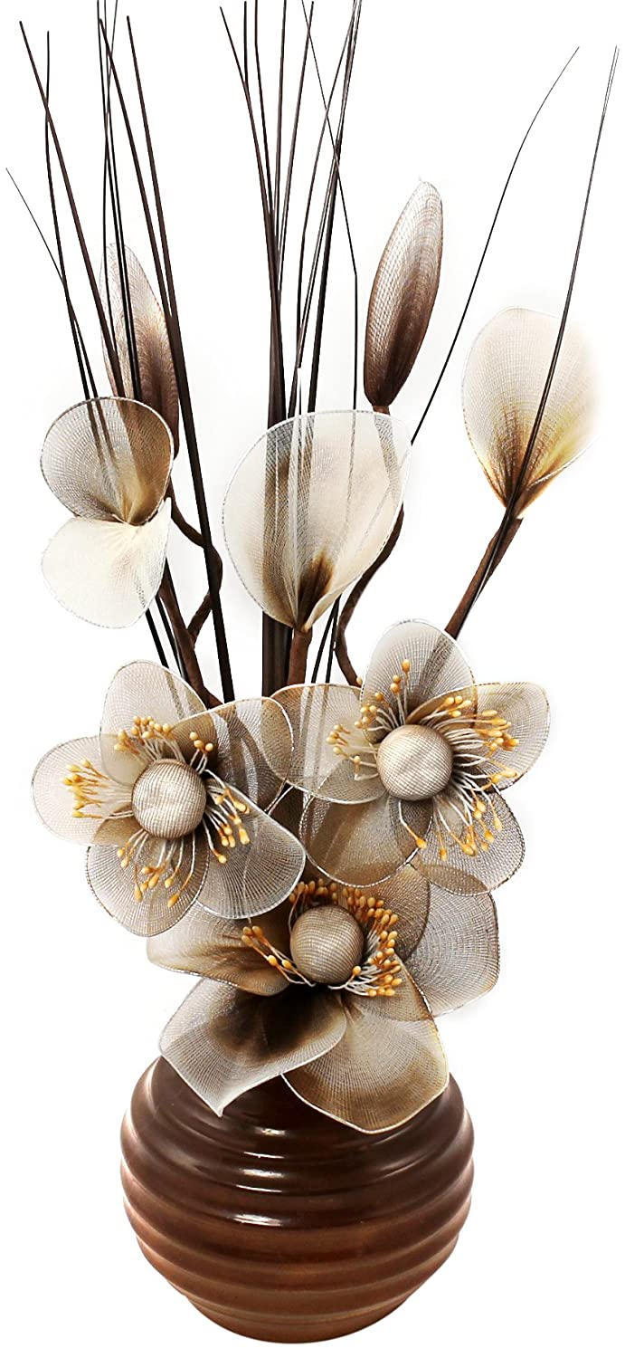 Flourish 704681 813 brown vase with brown and cream nylon flourish 704681 813 brown vase with brown and cream nylon artificial flowers in vase fake flowers ornaments small gift home accessories reviewsmspy