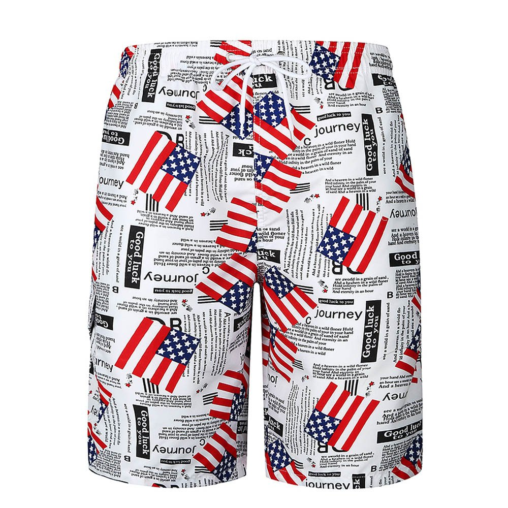 Men's Print Boardshorts Tropical Design Swimming Trunks Casual Pocket Beach Work Trouser Shorts Pants by Kstare