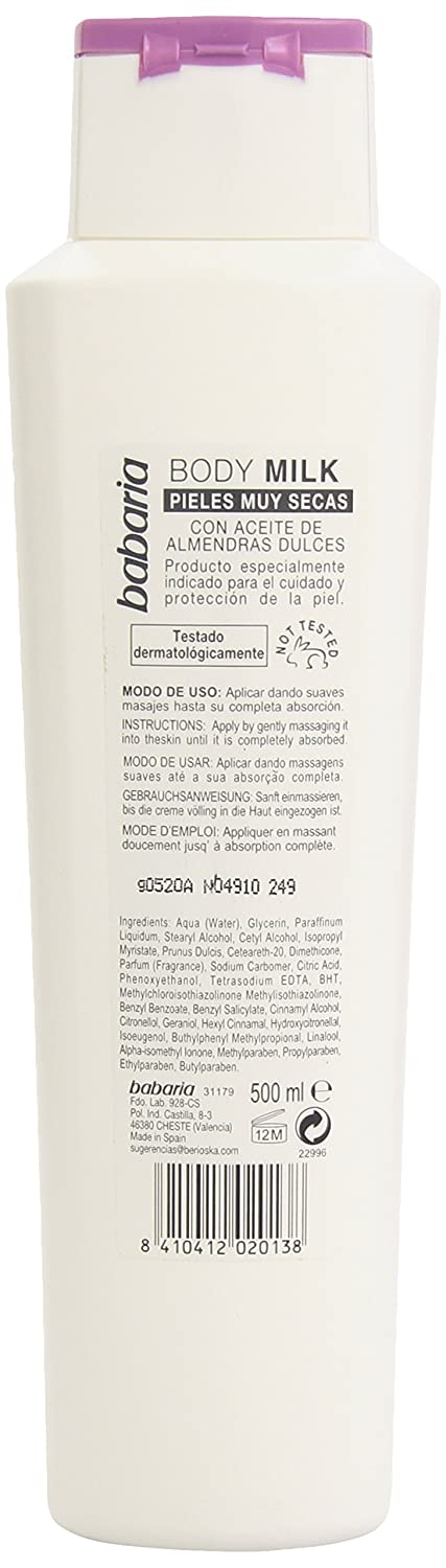 Amazon.com : Babaria Body Milk with Sweet Almond Oil for Very Dry Skin, 500ml / 17 Oz : Body Lotions : Beauty