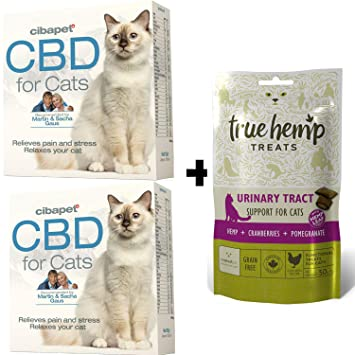 multiple Relajación para Gatos - Set - 2 x Cibapet CBD Pastillas para Gatos y 1 x True Hemp Treats Urinary Tract Katzensnacks para Las vías urinarias: ...
