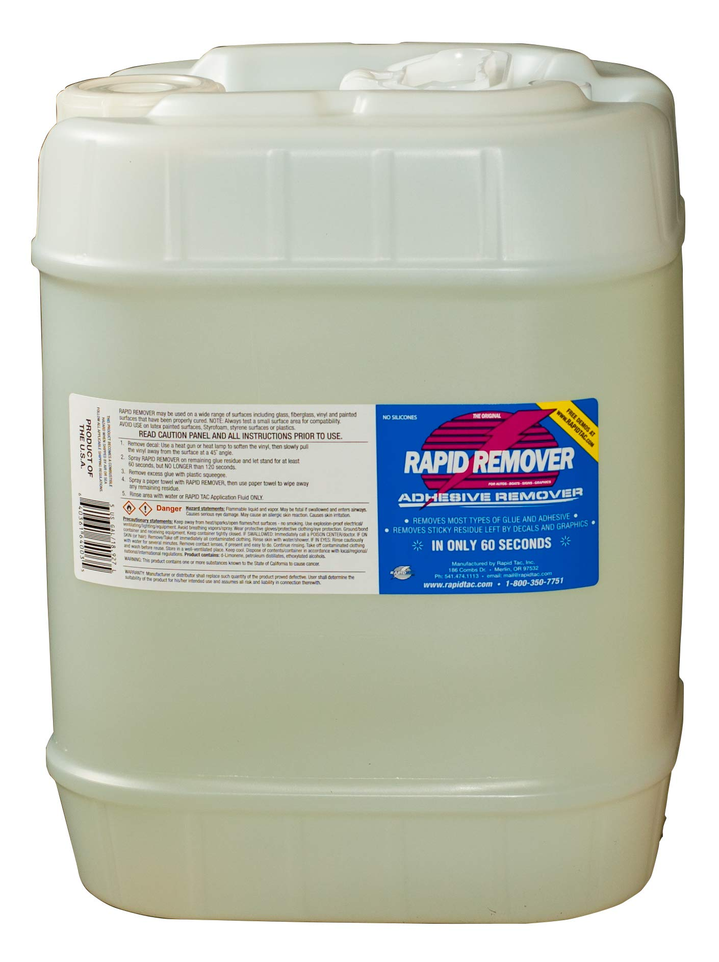 Rapid Remover Adhesive Decal Remover for Vinyl Wraps Autos Boats Signs Graphics Stickers - 5 Gallon Jug (640 oz)