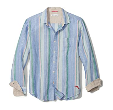 cd1ac03a Tommy Bahama Men's Break Line Stripe Linen Shirt (Zephyr Blue, Medium)