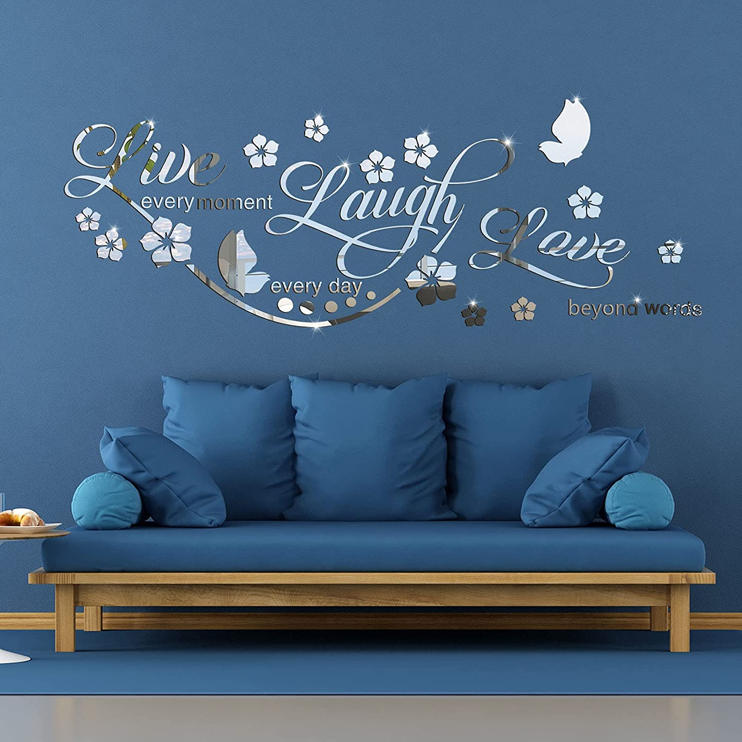 3D Acrylic Mirror Wall Decor Stickers Live Laugh Letter Quotes Wall Stickers Removable Family Wall Decals Motivational Family Flower Butterfly Mirror Stickers for Office Dorm Home Mirror Wall