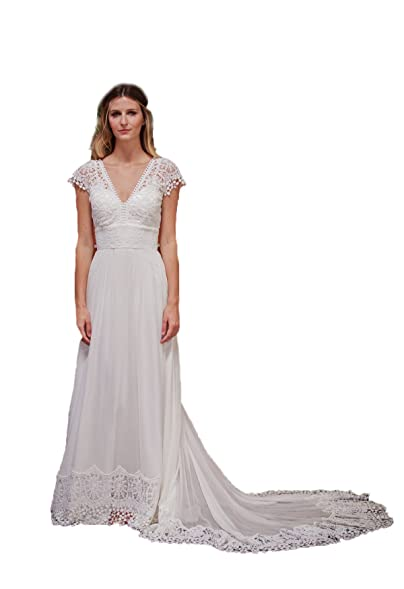 MileyHouse Women\'s Lace V-neck Bohemian Wedding Dresses Backless ...