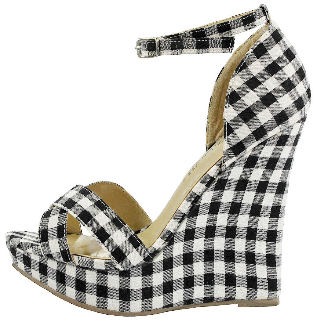 Women Madison Plaid Fabric Retro Ankle Strap Buckle High Wedge Platform Dress Pumps Sandals B0737ZCJ43 8 B(M) US|Black
