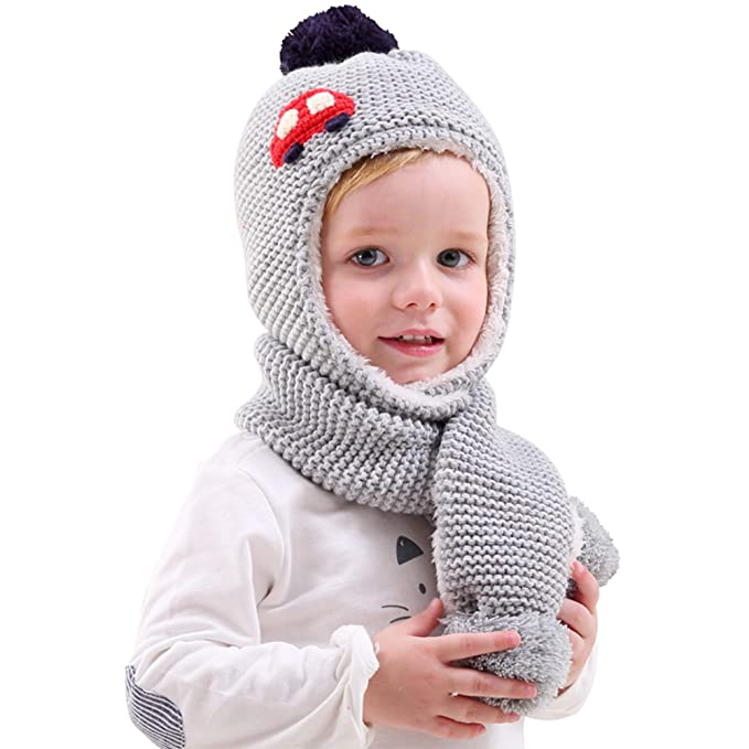 761ece72eca Hugmii Fall Winter Warm Cute Hat and Scarf Set For Little Kids Girls and  Boys (