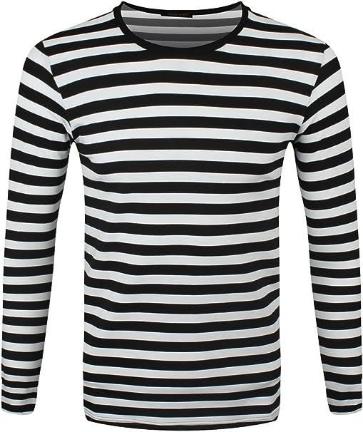 eredità individuare carbonio  Grindstore T-Shirt a Maniche Lunghe Nera e Bianca a Righe: Amazon.it:  Abbigliamento