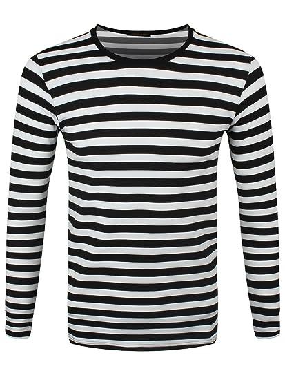 b28a0db9f52a2a Männer Langarm T-Shirt schwarz weiß gestreift  Amazon.de  Bekleidung
