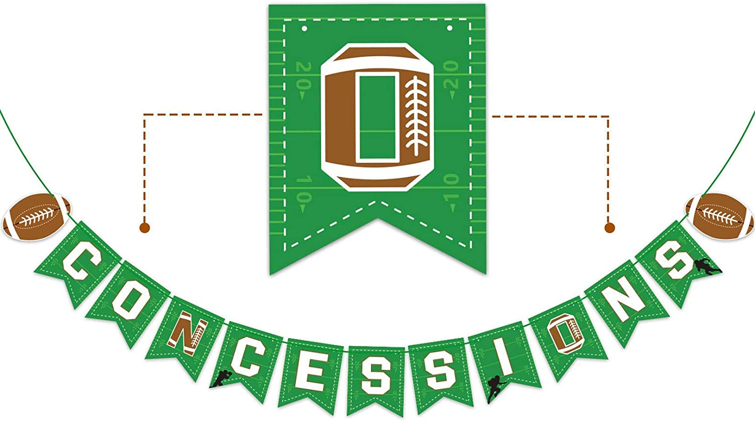 Football Party Banner|Concessions Garland|Football Themed Birthday Baby Shower Party Bunting Sign Decoration|Sports Game Day SUPER BOWL Sunday Photo Backdrop|Pre-strung