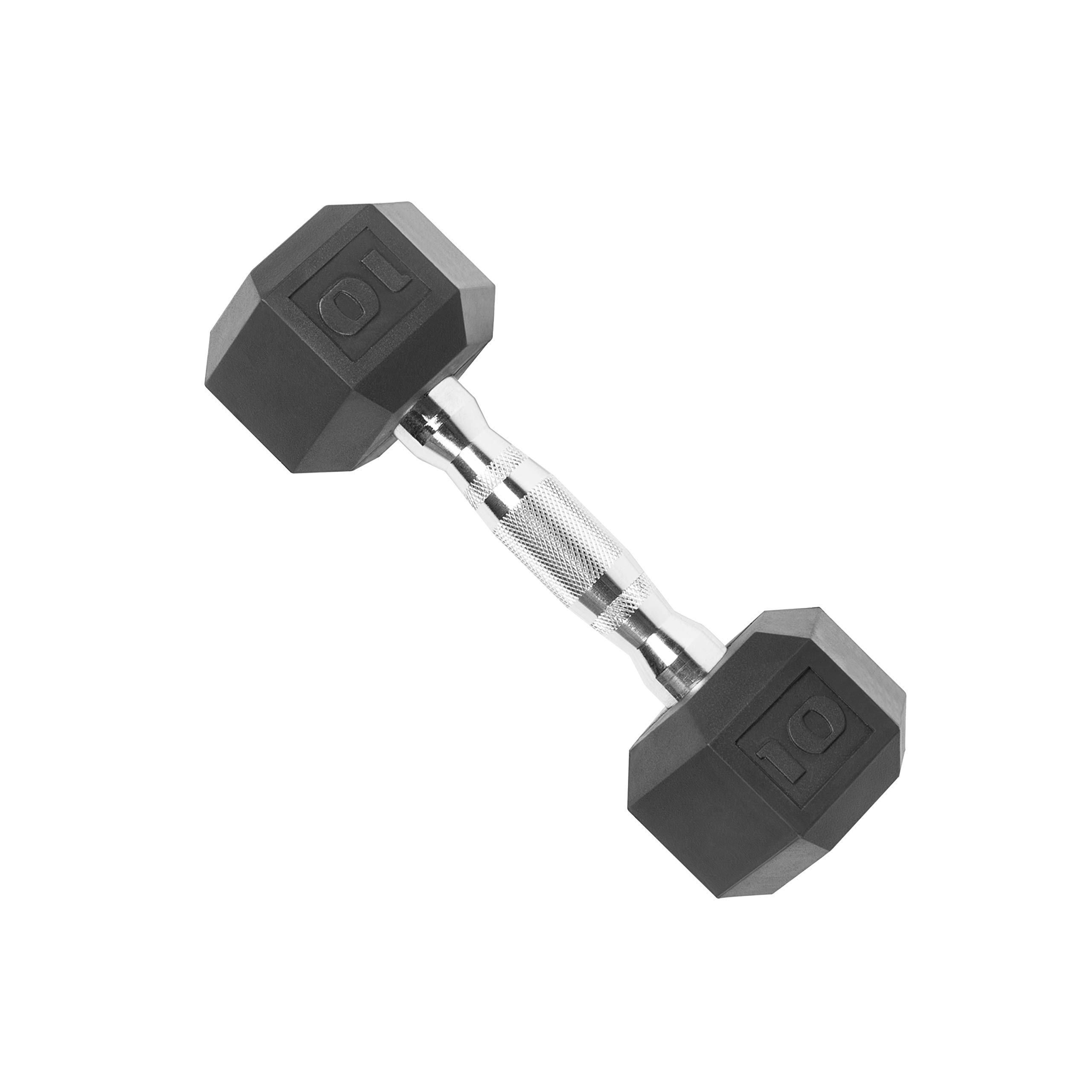 CAP Barbell Rubber Coated Dumbbell Weights, 10 Pound, Single