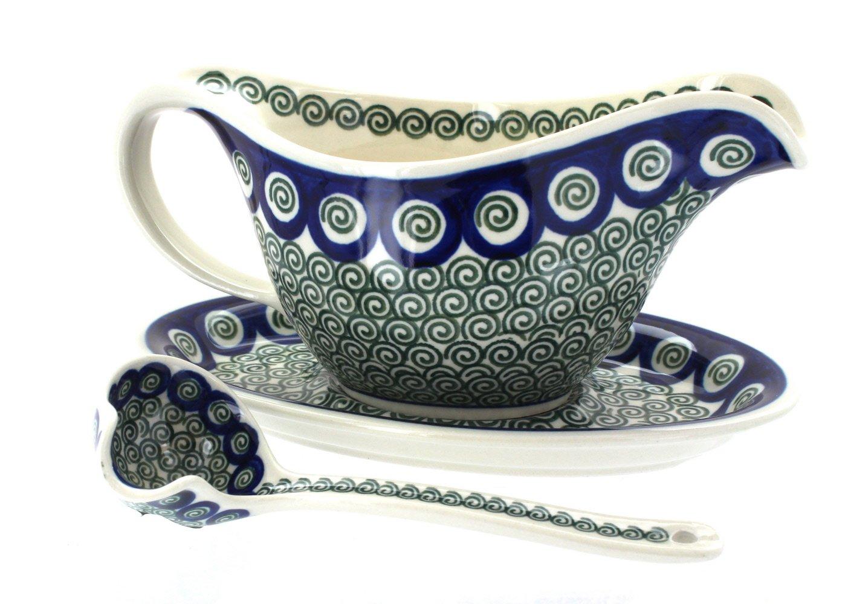 Polish Pottery Peacock Swirl Gravy Boat & Ladle Ceramika Artystyczna