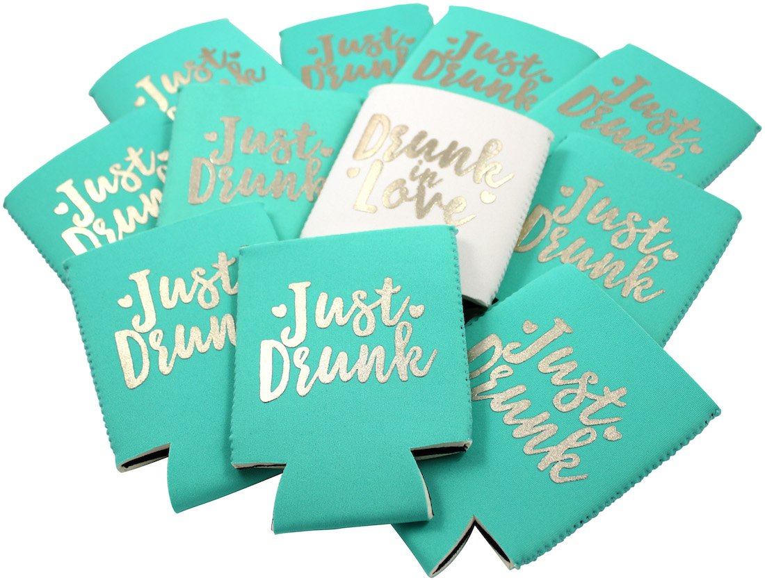 11pc or 6pc Set Drunk in Love & Just Drunk Can Coolers for Bachelorette, Bridal Shower, Wedding. 4mm Thick Bottle Sleeves, Can Coolies, Beverage Insulators (11pc Set, Aqua & Gold) by Bachelorette to Bride (Image #2)