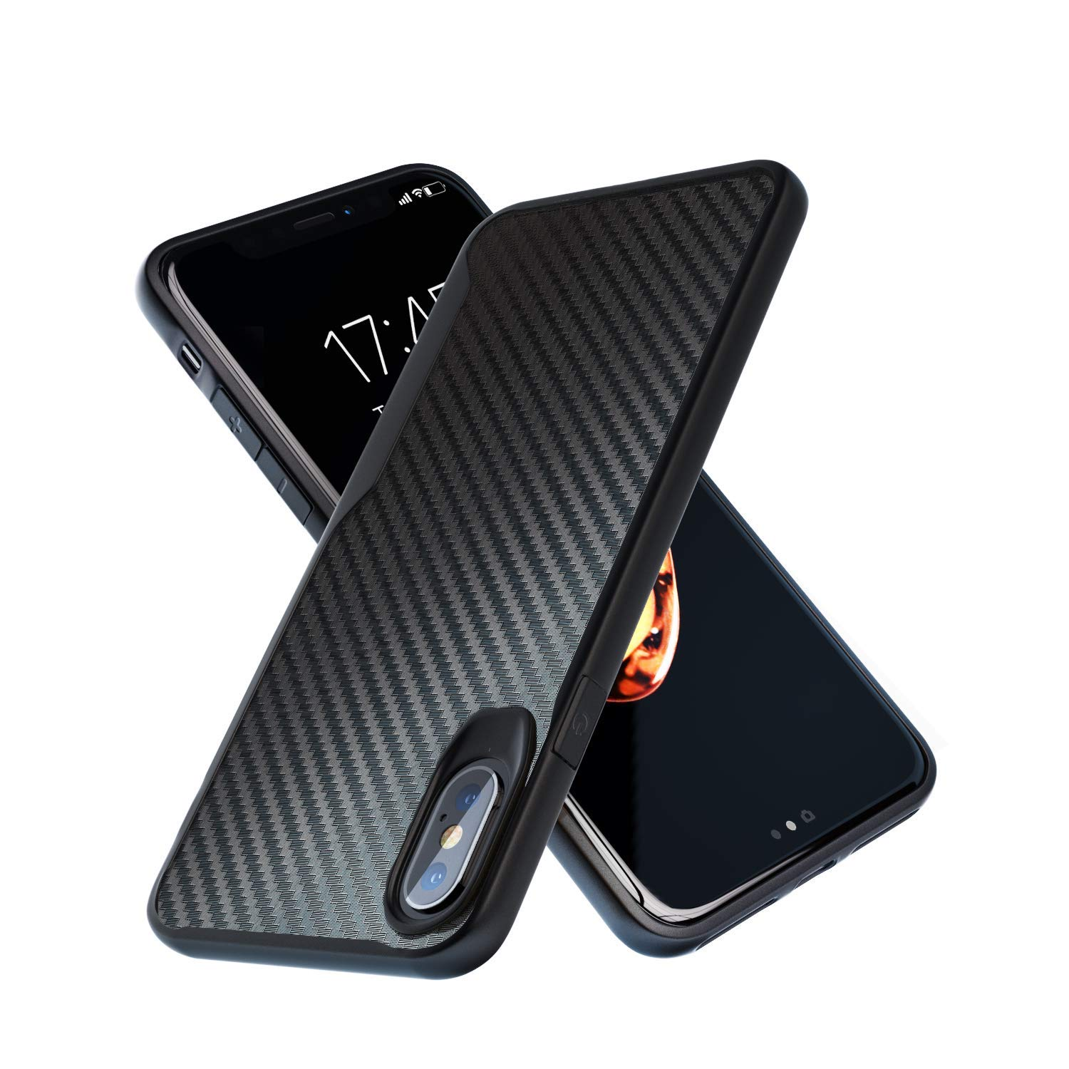 iPhone X Case | iPhone Xs Case | 10ft. Drop Tested | Carbon Case | Ultra Slim | Lightweight | Scratch Resistant | Wireless Charging | Compatible with Apple iPhone X /iPhone Xs - Black by Kitoo