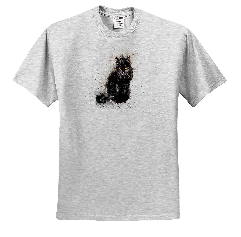 Image of Black Cat in Watercolor Painting T-Shirts 3dRose Lens Art by Florene Watercolor Art