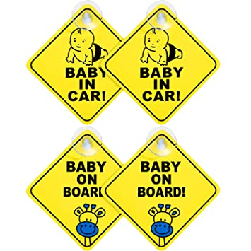 2 X PACK BABY ON BOARD CHILD SAFETY CAR SIGN WITH STAY-PUT SUCTION PADS CAR SIGN