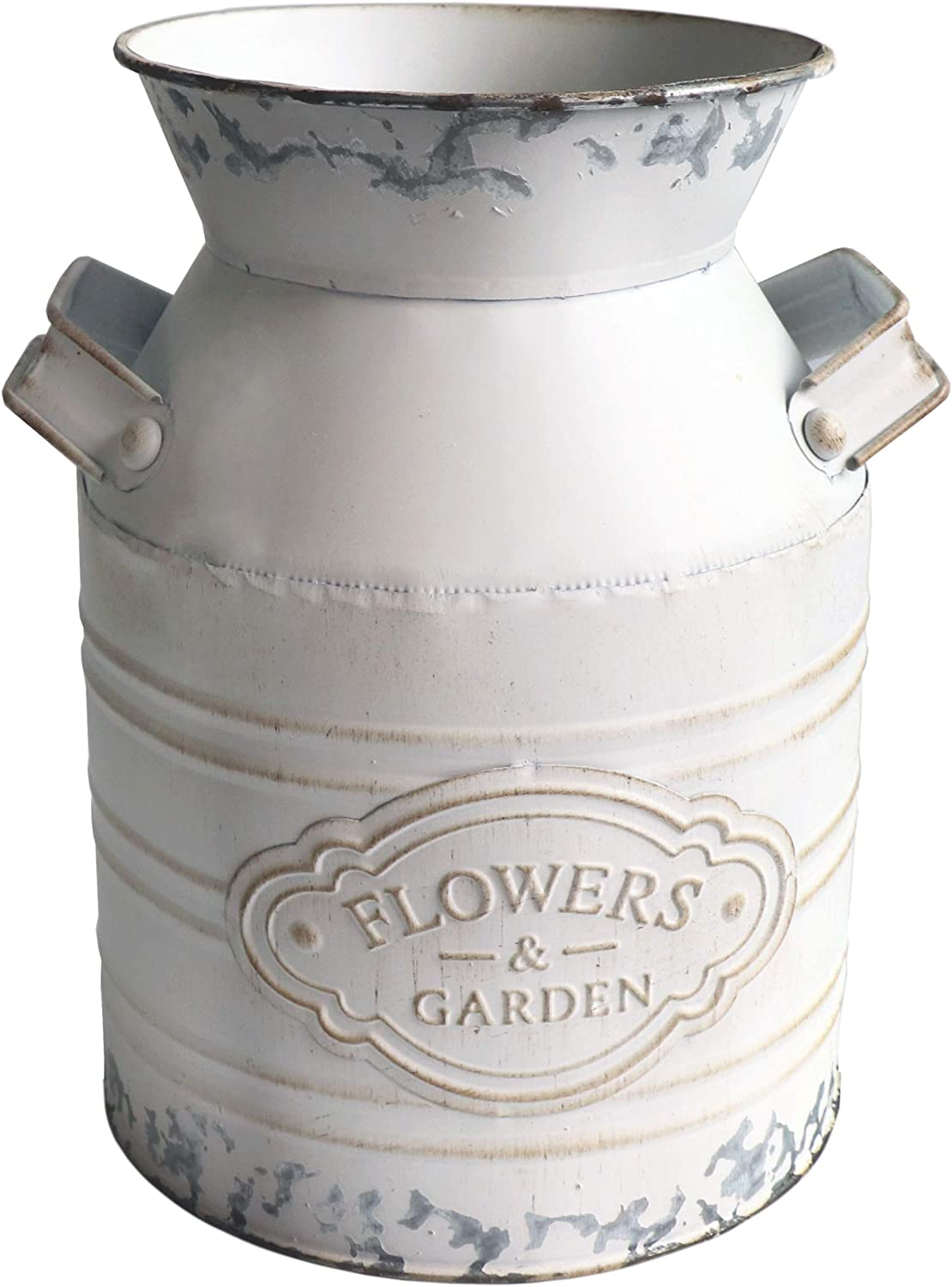 MISIXILE Vintage Farmhouse Vase,Metal Galvanized Milk Can,Shabby Chic Flowers Jug Vase, Country Rustic Decorative Buckets Home Decor Planter Vase with Handle