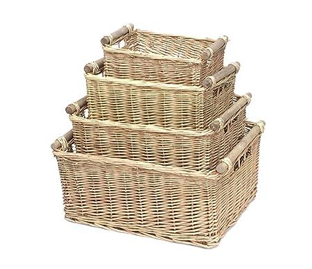 Topfurnishing Kitchen Log Basket With Wooden Handles Hamper Gift