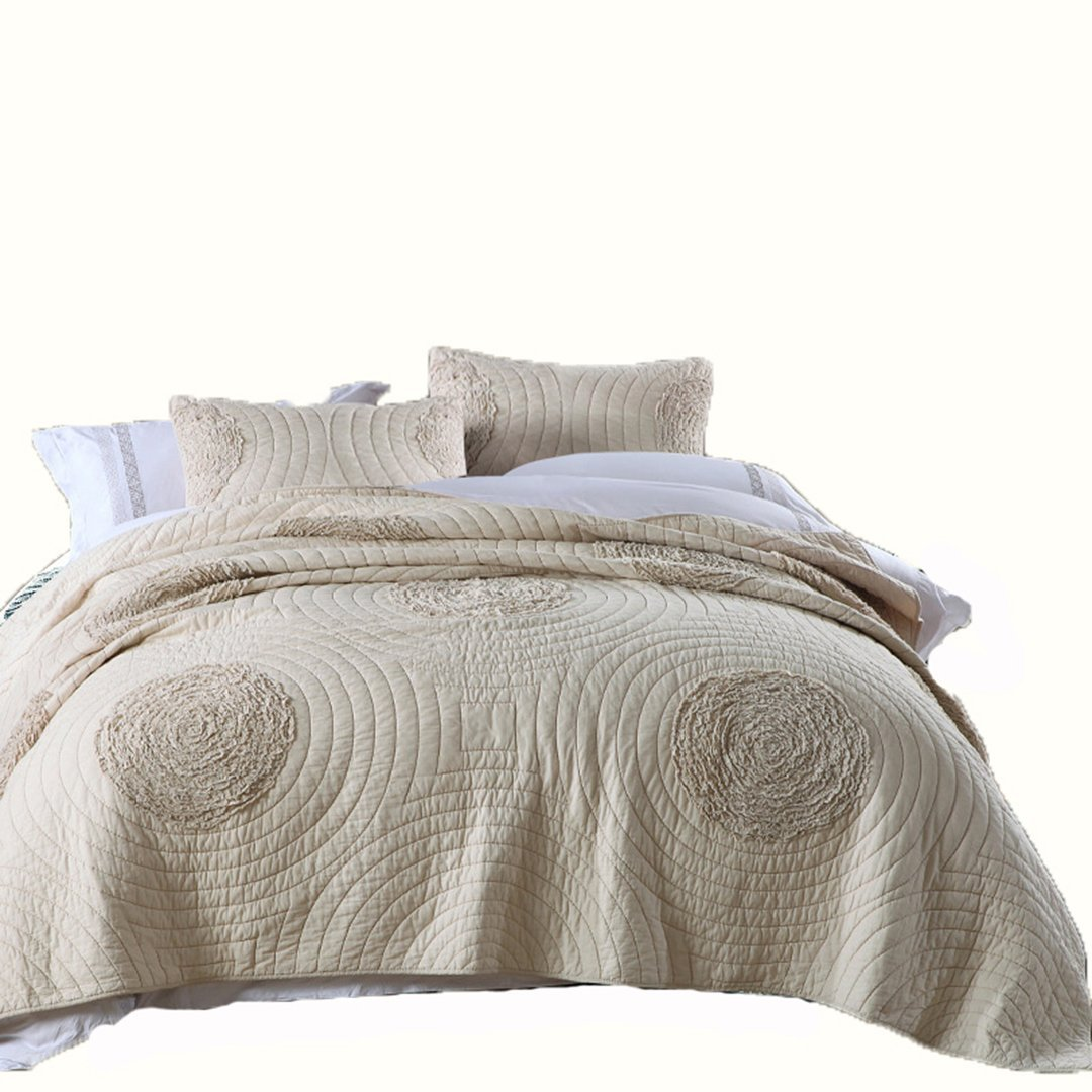 COTTON SATEEN SILKY EMBOSSED BEDSPREAD COVERLET THROW BEDCOVER QUILT 5 PIECES
