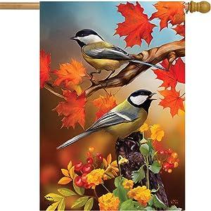 Briarwood Lane Autumn Chickadees House Flag Fall Leaves 28