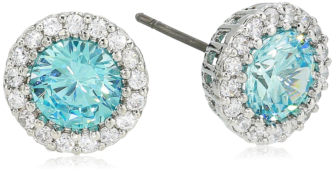 Cz By Kenneth Jay Lane Women's Round Aquamarine Cubic Zirconia Stud Earrings With Halo, Aqsi, One Size