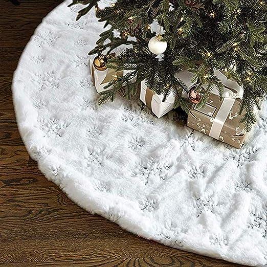 Falda Del árbol De Navidad 41 Pulgadas, Piel Fax Felpa Faldas ...