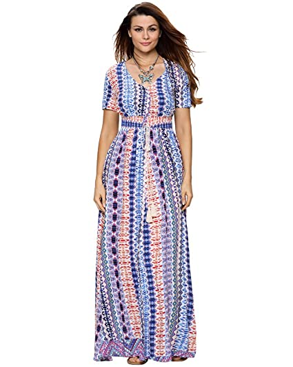 7a5c6799134 Aofur Plus Size 1X 2X 3X Women s Summer Casual Holiday Party Striped Maxi  Dresses Long Sundress at Amazon Women s Clothing store