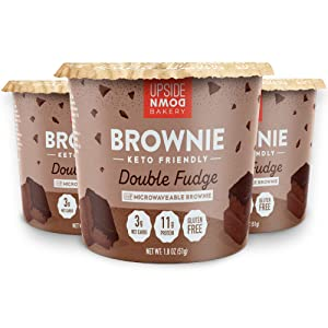 Keto Brownie Cup by Upside Down Bakery - Chocolate Fudge (3 Net Carbs) - High Protein Snack, Microwavable Mug Cake Dessert - Just Add Water - 1g Sugar - Gluten Free - Single Serve Cups (3 Pack)