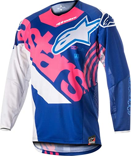 Mx Cross Camisa Alpinestars Tech Star Venom Jersey 2018, Blue Rosa Fluo White, XXL