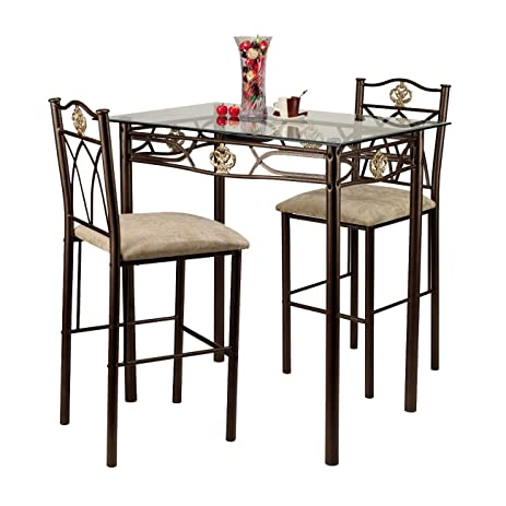 Home Source Industries Crown Bistro 3 Piece Dining Set With Glass Table Top  And 2