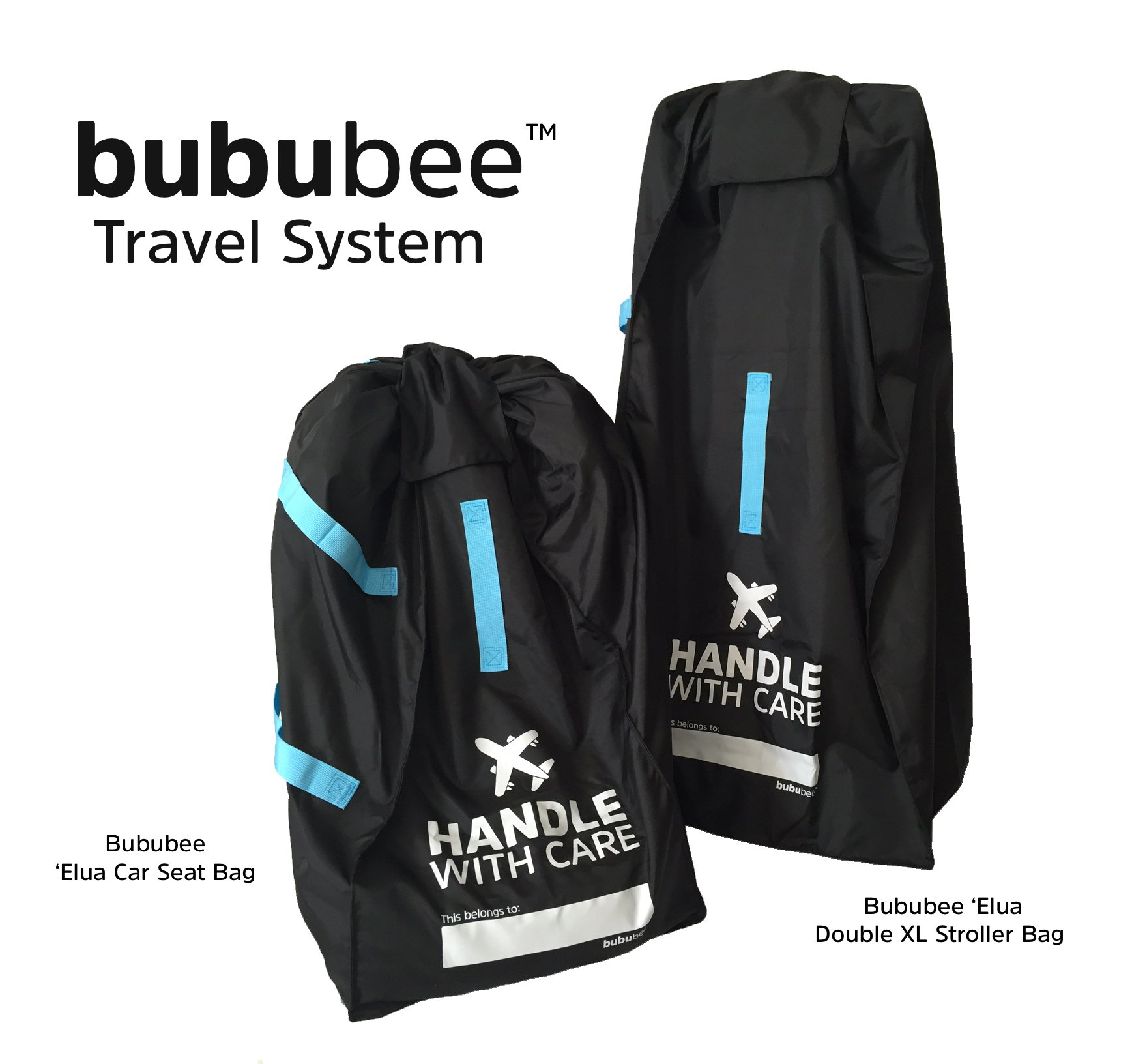 Bububee 'Elua XL Double Stroller Gate Check Travel Bag (Black & Aqua) by Bububee (Image #8)