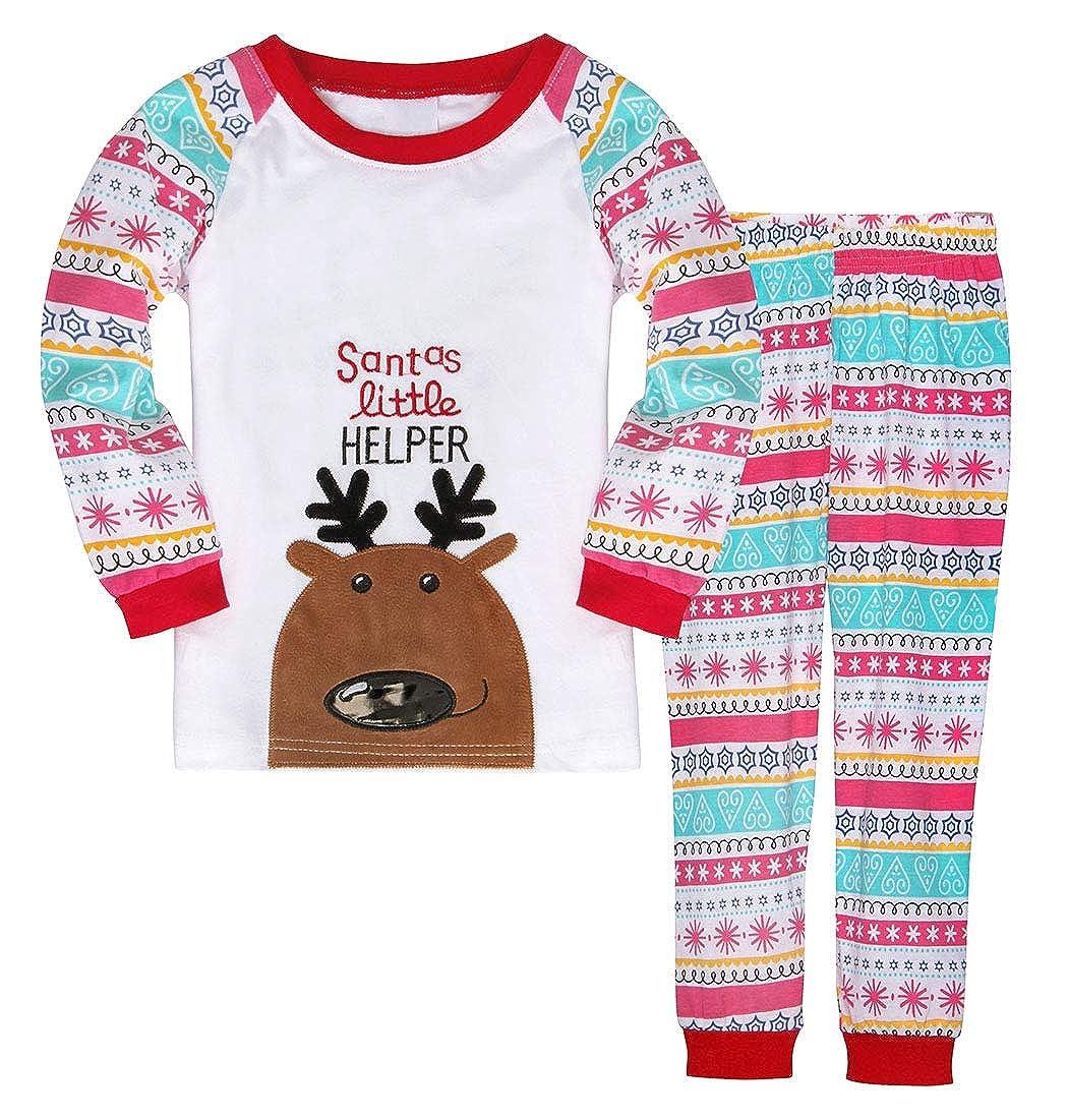HenzWorld Reindeer Christmas Sleepwear Kids Cosplay Party Clothes Set 2-7 Years