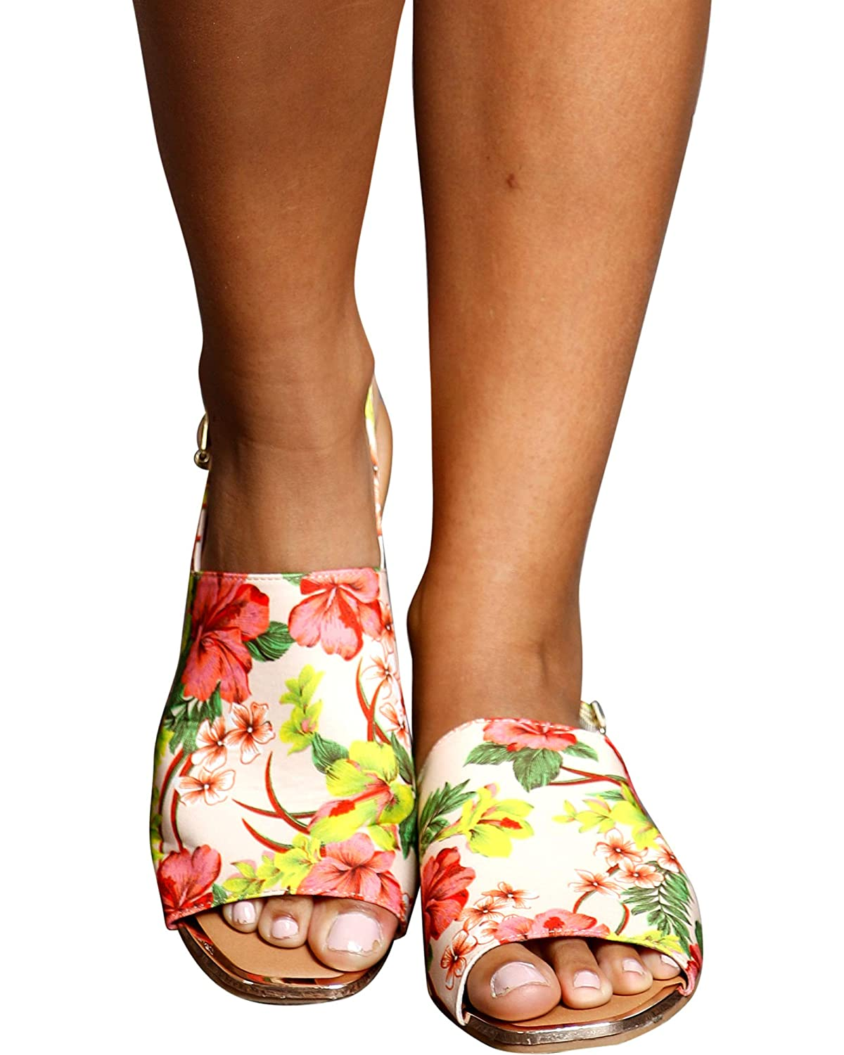 Qupid Womens Amy One Band Sling Back Sandals,Floral,8