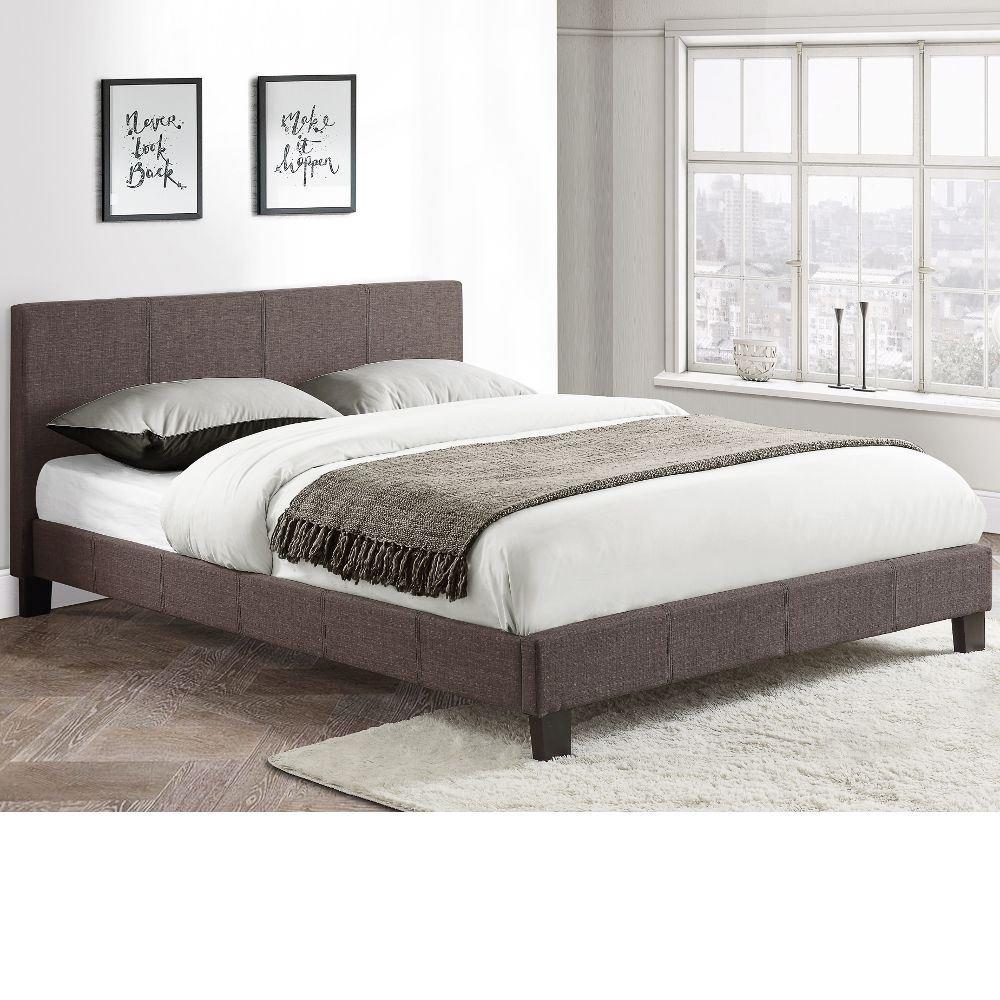 Happy Beds Berlin Fabric Bed Grey Modern Luxury Frame Bedroom Comfort 3' Single 90 x 190 cm