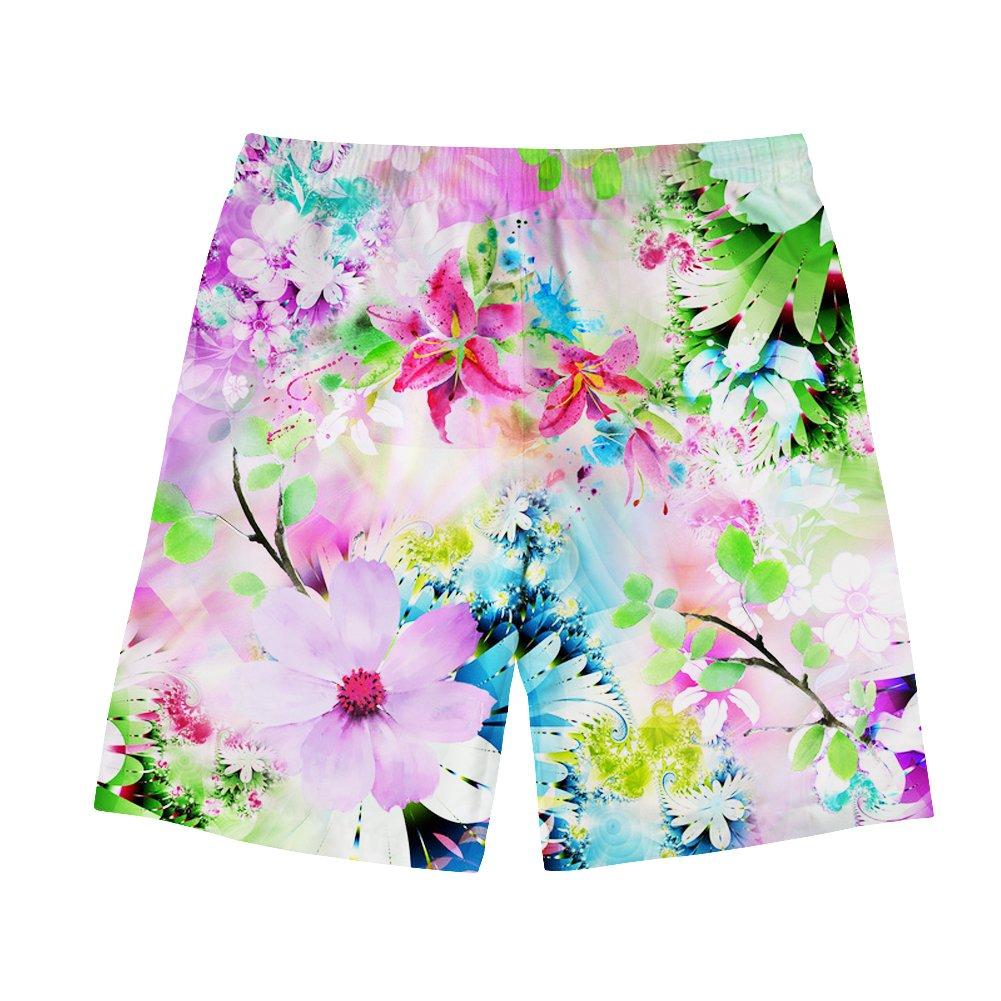 INSTANTARTS Hawaii Swimming Trunks for Men Flower Printing Board Shorts Summer Slacks