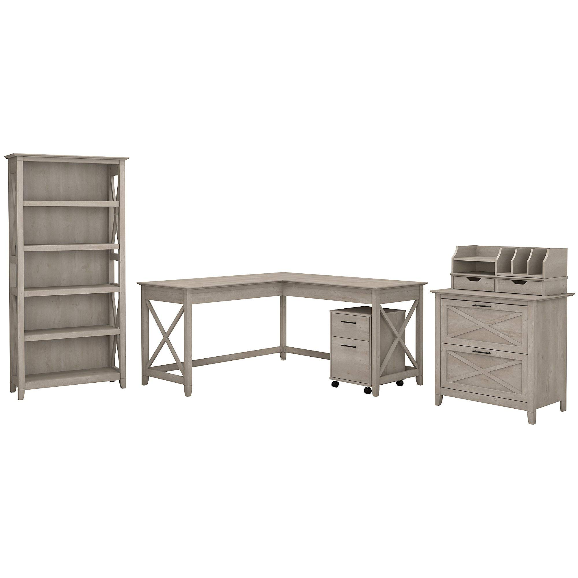 Bush Furniture Key West 60W L Shaped Desk with File Cabinets, Bookcase and Desktop Organizers in Washed Gray by Bush Furniture