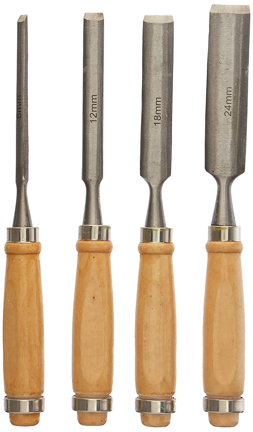 CNBTR Wood Color Carbon Steel Carving Firmer Gouge Wood Chisel Set DIY Woodworking Handle Carpentry Tools Pack of 4 FBA_CNBTR2412