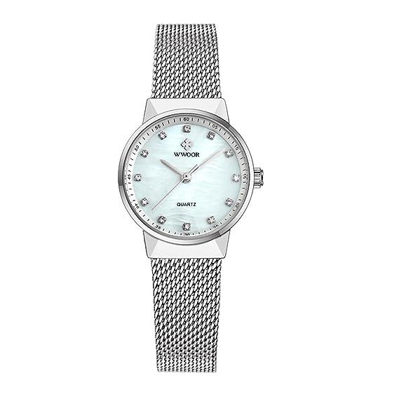 Marca Relojes Mujeres de lujo reloj impermeable acero inoxidable vestido cuarzo reloj Mujer Mujer Reloj Mujer